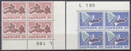 DÄNEMARK  515, 517, 4erBlock, Eckrand, Postfrisch **, Sport 1971 - Nuovi