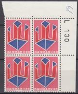 DÄNEMARK  486, 4erBlock, Eckrand Oben Rechts, Postfrisch **, Kunst 1969 - Nuovi