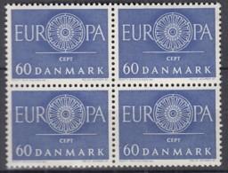 DÄNEMARK  386 X, 4erBlock, Postfrisch **, Europa CEPT 1960 - Dänemark