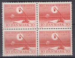 DÄNEMARK  383, 4erBlock, Postfrisch **, 400 Jahre Seefeuerwesen 1960 - Dänemark