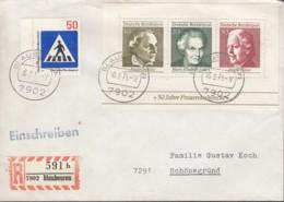 BRD Block 5 MiF, Auf R-Brief Mit Stempel: Blaubeuren 16.3.1971 - Blocchi