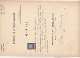 PRAGER ZEITUNG 1894 > QUITTUNG An Das K.K.Bezirksgericht TETSCHEN, 7 Kreuzer Stempelmarke, A3 Format, Gefaltet - Austria
