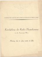 KUNDGEBUNG DER REICHSTHEATERKAMMER In Der STAATSOPER WIEN 1939, Format 24 X 18 Cm ... - Programma's
