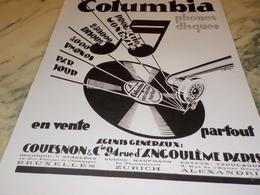 ANCIENNE PUBLICITE PHONOS DISQUES COLUMBIA  1928 - Publicités