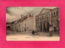 88 Vosges, NEUFCHATEAU, Halles Et Collège, Animée, Colorisée, 1907, (H. Beaucolin) - Neufchateau