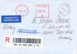 POLEN / POLAND  -  KATOWICE  -  2002   -  Freistempel  8,30 Zl    -  R-Brief Nach Bremen - Machine Stamps (ATM)