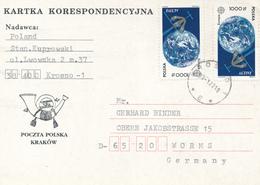 POLEN / POLAND  -  KROSNO -  1993 ,  Europa-Ausgabe Erdkugel , Satellit  -  Karte Nach Worms - Machine Stamps (ATM)