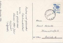 POLEN / POLAND  -  LUBLINEC  -  1990 ,  Kornblume  -  Karte Nach Aurich - Machine Stamps (ATM)