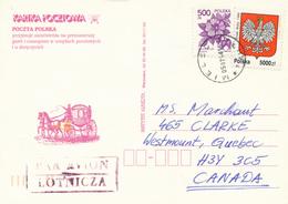 POLEN / POLAND  -  MIELEC  -  1994 ,  Hundrose , Wappen Von 1990  -  Karte Nach Westmount / Quebec - Machine Stamps (ATM)