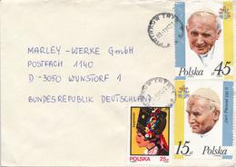 POLEN / POLAND  -  PIOTRKOW TRIBUNALSKI  -  1989 ,  Papst Johannes Paul II. , Kurpie  -  Brief Nach Wunstorf - Machine Stamps (ATM)