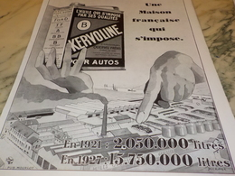 ANCIENNE PUBLICITE MAISON FRANCAIS  HUILE KERVOLINE   1928 - Vervoer