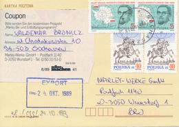 POLEN / POLAND  -  SOCHARCZEW  -  1989 ,  Dobrowolski , Weltposttag / Postreiter   -   Karte Nach Wunstorf - Machine Stamps (ATM)