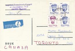 POLEN / POLAND  -  CHODZIEZ  -  1987 ,  Kopf Eines Jungen Mannes Und Eines Mädchens   -   Fernschach-Karte Nach Toronto - Machine Stamps (ATM)