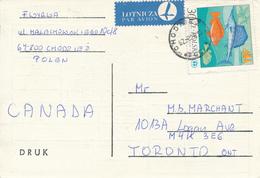 POLEN / POLAND  -  CHODZIEZ  -  1987 ,  Meeresforelle   -   Fernschach-Karte Nach Toronto - Machine Stamps (ATM)