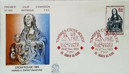 FRANCE - FDC - 1983 (Oblitération Croix Rouge D'Enghien-les-Bains) - VIERGE De Genainville - Enveloppe Premier Jour - Cruz Roja