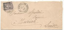 SAGE 25C N°97 LETTRE TYPE A MONTPELLIER 4 JUIL 1899 RUE GRAND GALION POUR SUISSE - Poststempel (Briefe)