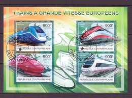 CENTRAFRIQUE 2012 TRAINS  Y N°2496/99  OBLITERE - Trains