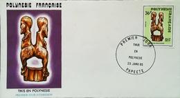 OCEANIE - FDC - 1985 (Oblitération PAPEETE Tahiti) Tikis En Polynésie Française    - Enveloppe Premier Jour - Tahití