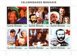 Guinea - Bissau 2003 - Celebrities (Mandela, Dunant, Einstein-Newton-Gagarin, Karpov-J.Paul II, H.Senghor) 6 X 450 FCF - Guinea-Bissau