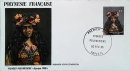 OCEANIE - FDC - 1985 (Oblitération PAPEETE Tahiti) Vahiné (Epoque 1900) Polynésie Française  - Enveloppe Premier Jour - Tahití