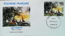 OCEANIE - FDC - 1985 (Oblitération PAPEETE Tahiti) (Pêche Harpon Autrefois) Polynésie Française - Enveloppe Premier Jour - Tahití