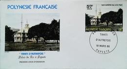 OCEANIE - FDC - 1986 (Oblitération PAPEETE Tahiti Palais Du Roi Autrefois) Polynésie Française - Enveloppe Premier Jour - Tahití