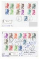 Marianne République Type Liberté Ensemble D'env.premier Jour,recommandé,présenté Sur Feuilles N° 2178 à 2190 Y.T.le Lot - Andere