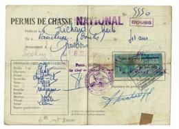 Permis De Chasse Délivré 1952-53-54-55 Département Du DOUBS, Séclin - Format 125 X 175 Mm, Plié En Quatre - Sports