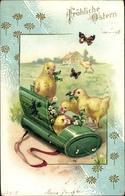 Cp Glückwunsch, Ostern, Küken Spielen Verstecken, Schmetterling - Pâques