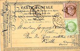 1874- C P  Précurseur Du Havre Affr. N° 53 Et 58  Pour Lille - Marcophilie (Lettres)