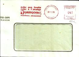 Lettre   EMA  Havas 1970 Gringoire Cake Fruits Orange  Alimentation Animaux Lapin 45 Pithiviers C28/49 - Affrancature Meccaniche Rosse (EMA)