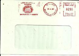 Lettre   EMA  Havas 1990 Carre De Lorraine Reverend Label Rouge Alimentation Fromage St Hubert 54 Ludres  C28/51 - Affrancature Meccaniche Rosse (EMA)