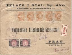 LETTRE DE VARSOVIE POUR PRAGUE . EXPRES PAR AVION . 1928 - Machine Stamps (ATM)
