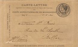 CARTE LETTRE CORPS EXPEDITIONNAIRE POUR BELLAC . 1895 - Madagascar (1889-1960)