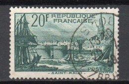 - FRANCE N° 394 Oblitéré - 20 F. Vert Foncé Port De Saint-Malo 1938 - Cote 21 EUR - - France
