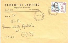 BUSTA COMUNE DI GARZENO COMO CON £400 EUROPA 1983 GALILEI - Europa-CEPT