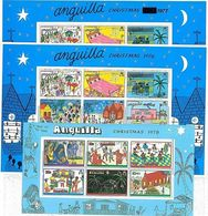 ANGUILLA - Stamps -  SET Of 3 SOUVENIT SHEETS For CHRISTMAS: 1976 + 1977 + 1978 -- Yvert: BF 14 + 19 + 22 MNH Mint - Anguilla (1968-...)