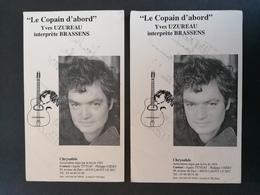 Yves Uzureau. Musicien. Brassens.2 Cartes Dédicacées. - Autographs