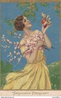 Joyeuses Pâques - Très Belle Illustration - Jeune Femme Tient Un Oeuf Et Un Poussin - 2 Scans - Pasqua