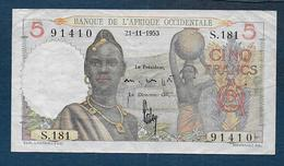 Afrique Occidentale - Billet De 5 Fr  Du 21 - 11 - 1953 - Banknotes