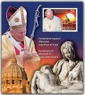 ROMANIA  2020  CENTENARY OF THE BIRTH OF POPE JOHN PAUL II- Souvenir Sheet  MNH** - Papas
