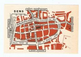 CARTE PLAN 1960 - SENS - MAISON D'ABRAHAM MUSÉE COUSIN OFFICIALITÉ CLOS LE ROI - Mapas Topográficas