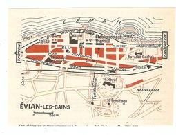 CARTE PLAN 1960 - ÉVIAN LES BAINS - BUVETTE CACHOT CASINO Éts THERMAL PALAIS DES CONGRES HOPITAL - Mapas Topográficas