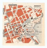 CARTE PLAN 1960 - ANNECY - HOTEL FAVRE TABLE D'ORIENTATION CASINO PALAIS DE L'ISLE - Mapas Topográficas