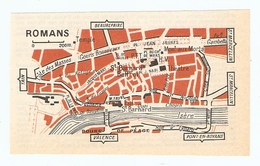 CARTE PLAN 1960 - ROMANS - SAINT BARNARD BEFFROI THÉATRE PTT - Mapas Topográficas