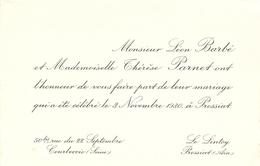 Faire-part De Mariage De 1930, Léon Barbé De Courbevoie Et Thérèse Parnet Du Lintoy à Pressiat (Ain) - Mariage