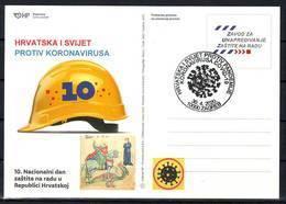 Croatia 2020 COVID 19 CORONAVIRUS  Overprint Postcard 10000 ZAGREB 30.04. - Croatia