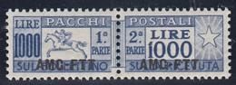 TRIESTE AMG-FTT 1954 PACCHI POSTALI L.1000 CAVALLINO FIL. RUOTA MNH CENTRATISSIMO QUALITA' LUSSO SASSONE N.26 - 7. Trieste