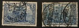 """1906 + 1916 ,,Nord Und Süd""""  Wz.1 Rauten Friedensdruck + Kriegsdruck Mi.95AI + Mi.96BII - Oblitérés"""