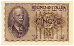 5 LIRE BIGLIETTO DI STATO VITTORIO EMANUELE III FASCIO 1940 XVIII FDS - [ 1] …-1946: Königreich